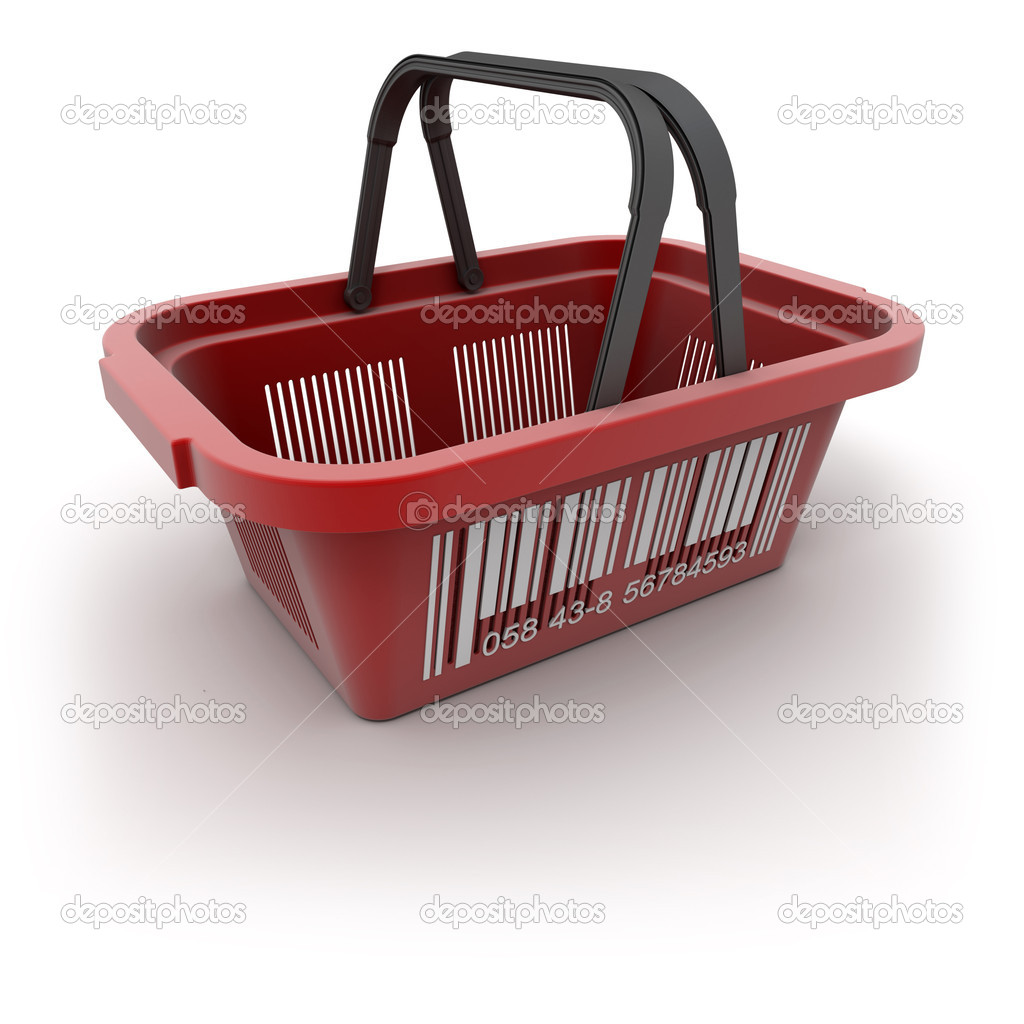 3D rendering of a red plastic shopping basket with a big barcode  Stock Photo #2191880