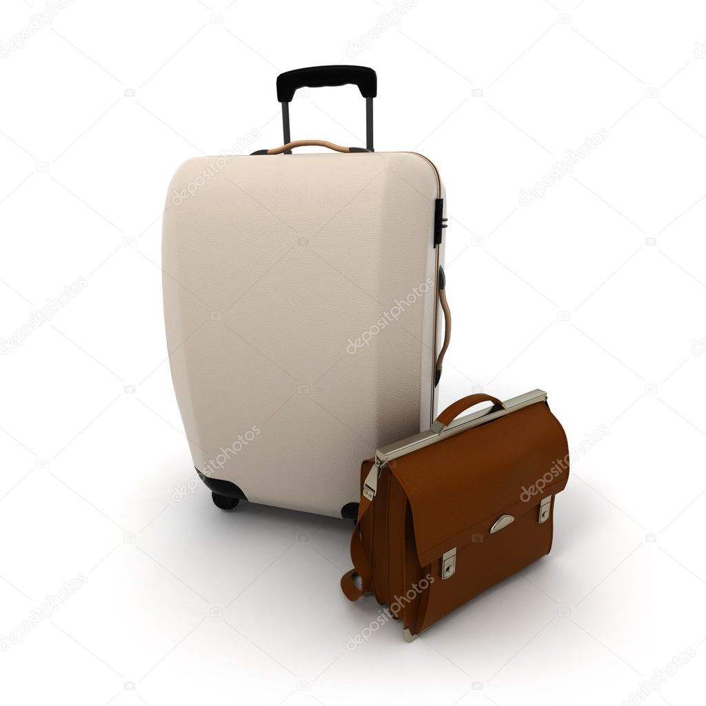 White suitcase and a brown leather briefcase on a white background — Stock Photo #2194047