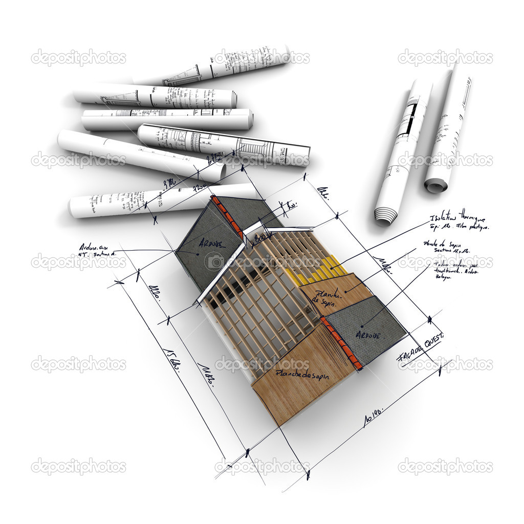 Aerial view of  architecture model, with rolled up blueprints and handwritten notes and measurements — Stockfoto #2194209