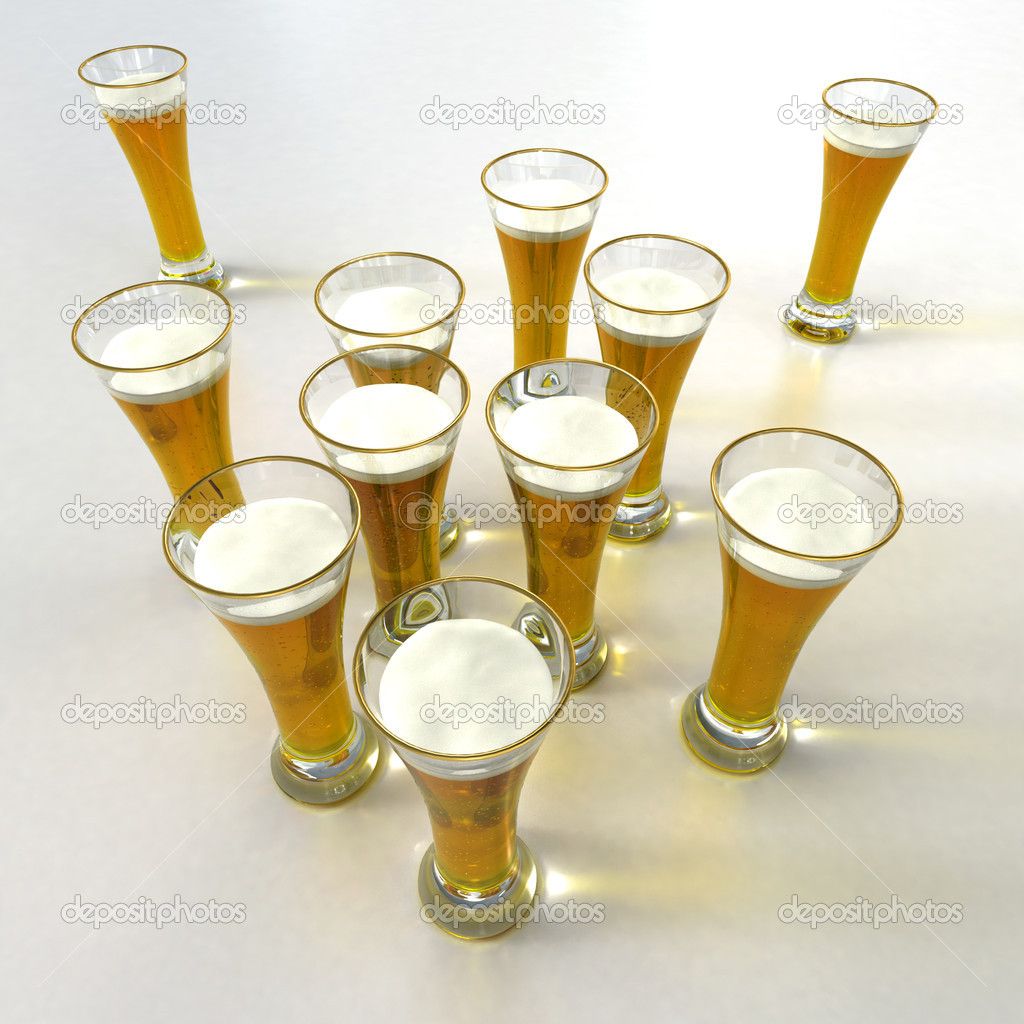 Aerial view of lots of beers against a white background — Stock Photo #2194213