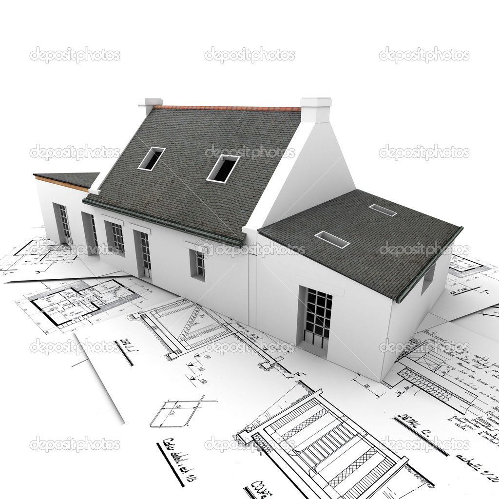 House with exposed roof layers on top of architect blueprints. — Stock Photo #2199310