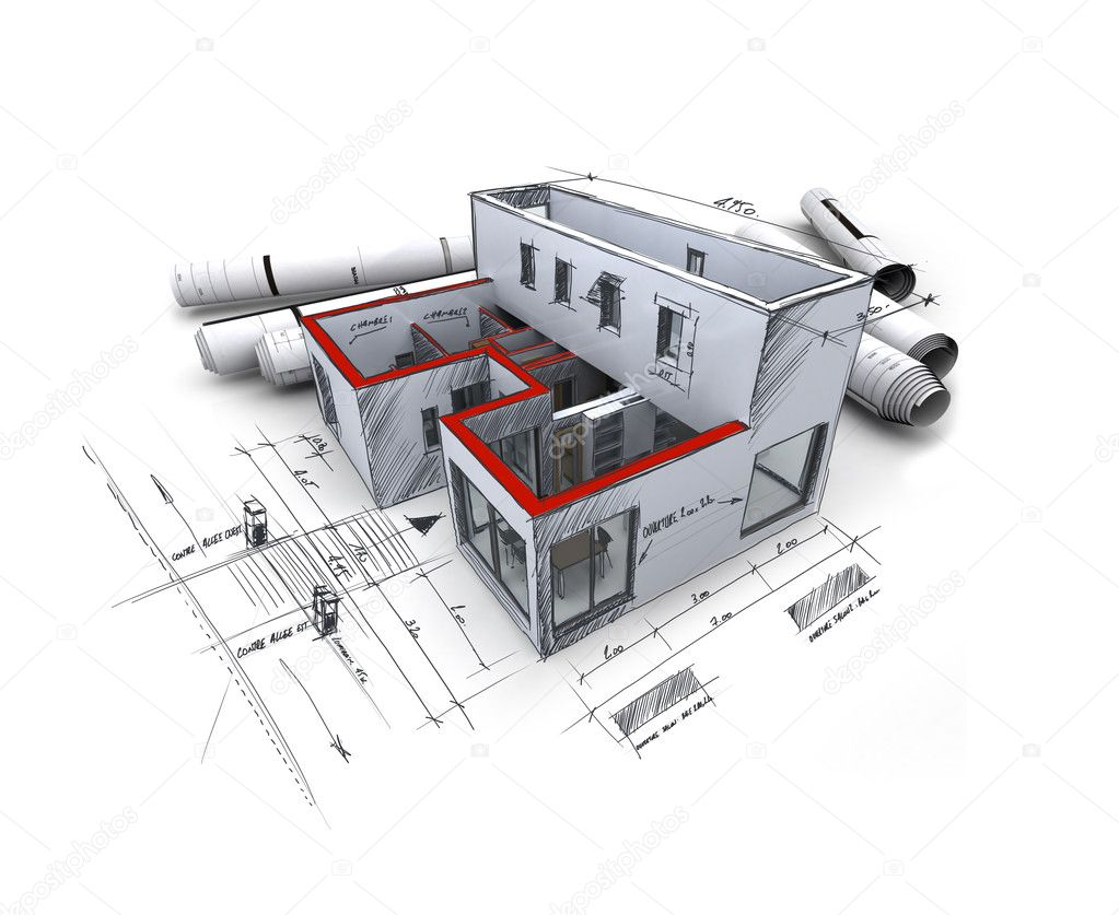 House with exposed roof layers on top of architect blueprints.  Stock Photo #2199352