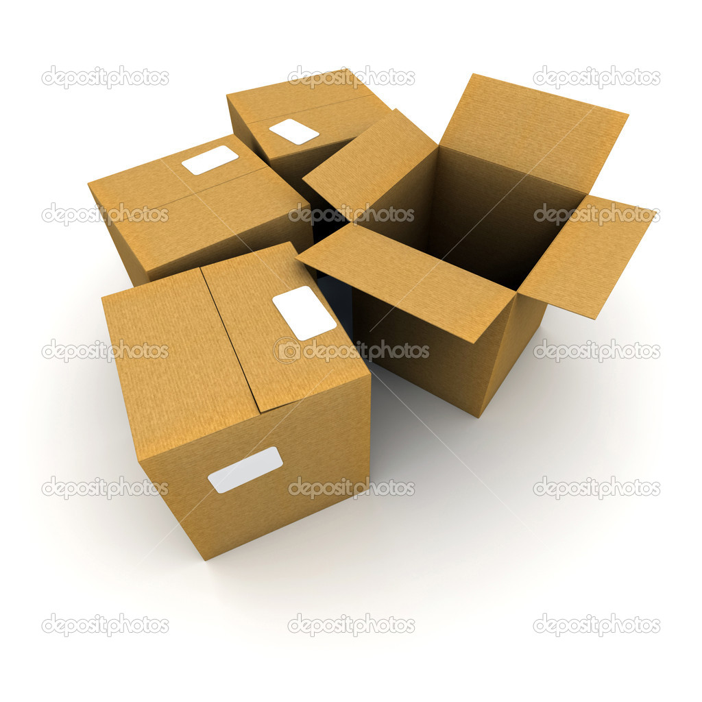 3D rendering of three closed cartons and an open one — Stock Photo #2199615
