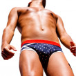 Young man in patriotic underwear — Stock Photo