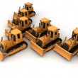 Army of bulldozers — Stock Photo