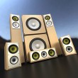 Stock Photo: Wooden loudspeakers