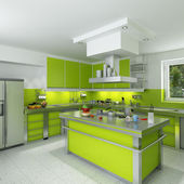 Modern green kitchen — Stock Photo