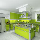Moderne grüne küche — Stockfoto