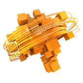 Orange cubic rotation — Stock Photo