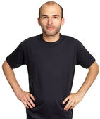 Young man with black T-shirt — Stock Photo