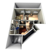 Aerial shot of roofless apartment — Stock Photo