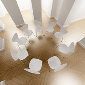 White circle of chairs — Stock Photo
