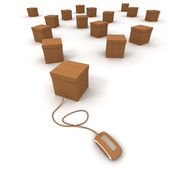 Cardboard boxes and internet connexion — Stock Photo