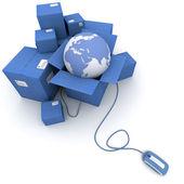 Worldwide online logistics in blue — Stock Photo