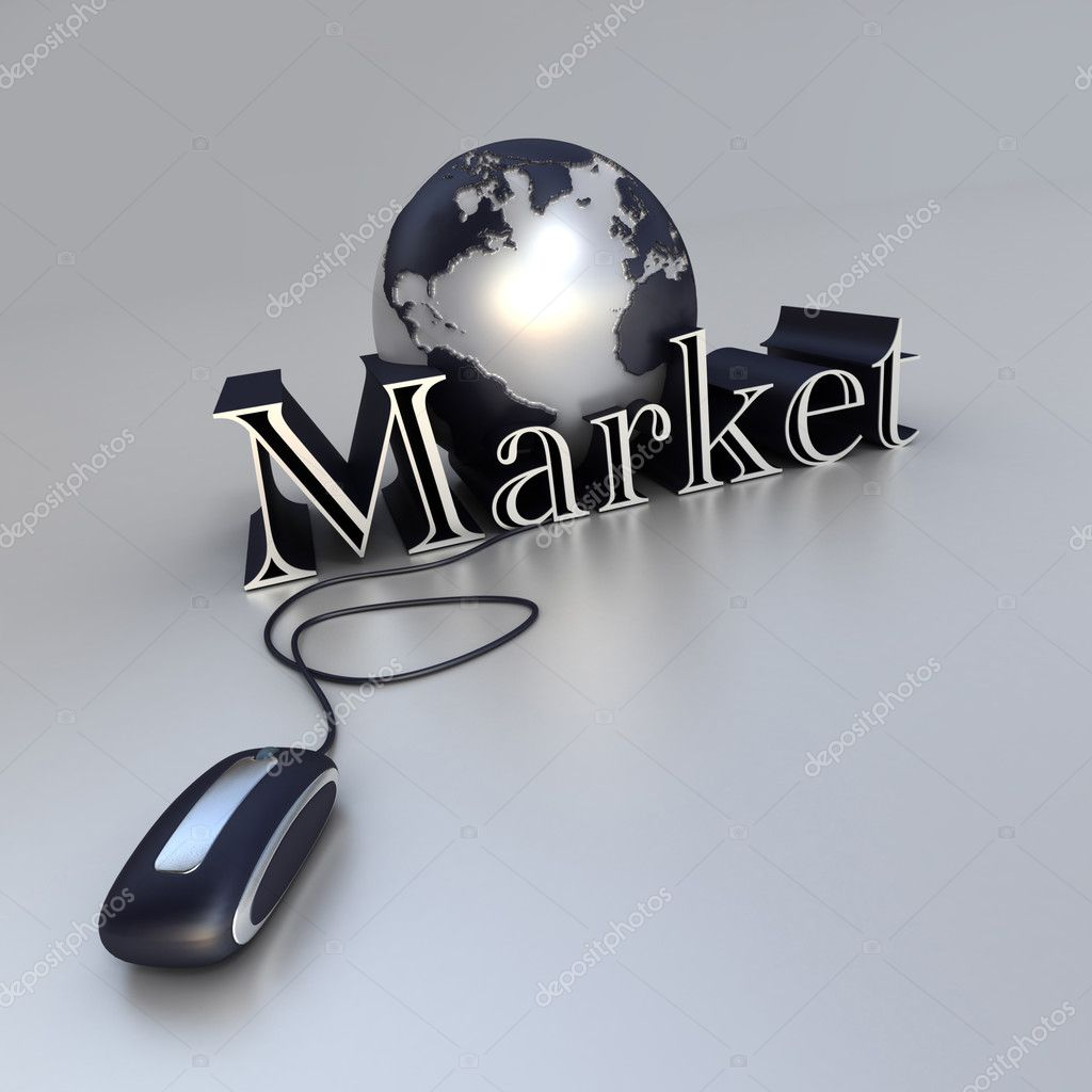 3D-rendering of a world globe, a computer mouse and the world market in blue and silver shades — Stock Photo #2200641