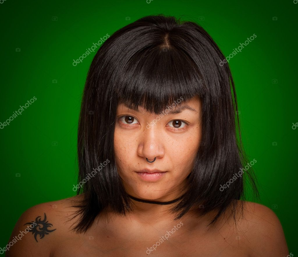 Portrait of a young Asiatic woman with a piercing — Stock Photo #2202489
