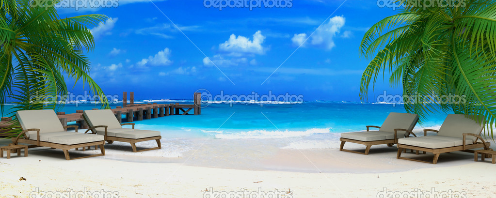 3D rendering of two pairs of lounge chairs by a jetty on a tropical idyllic beach — Stock Photo #2208803