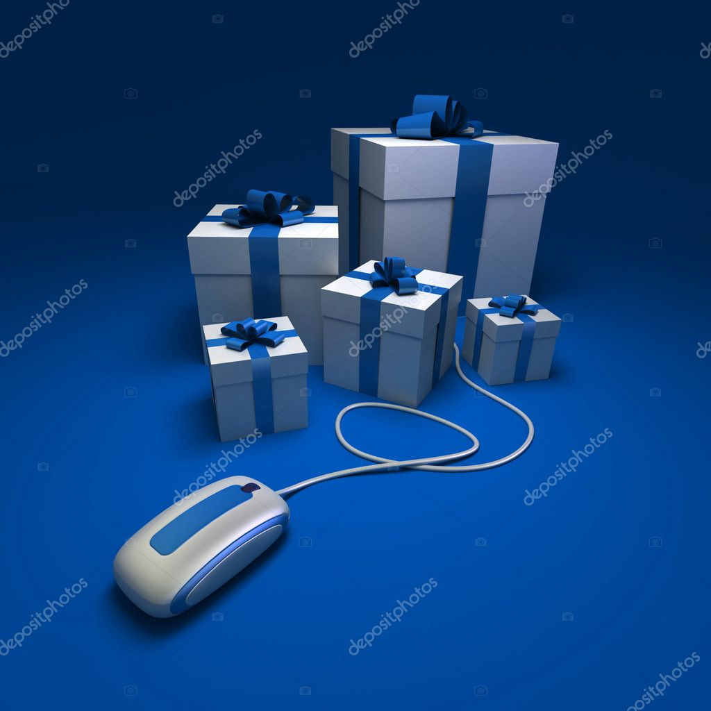 3D rendering of white and blue presents connected to a computer mouse against a blue background — Stock Photo #2209251