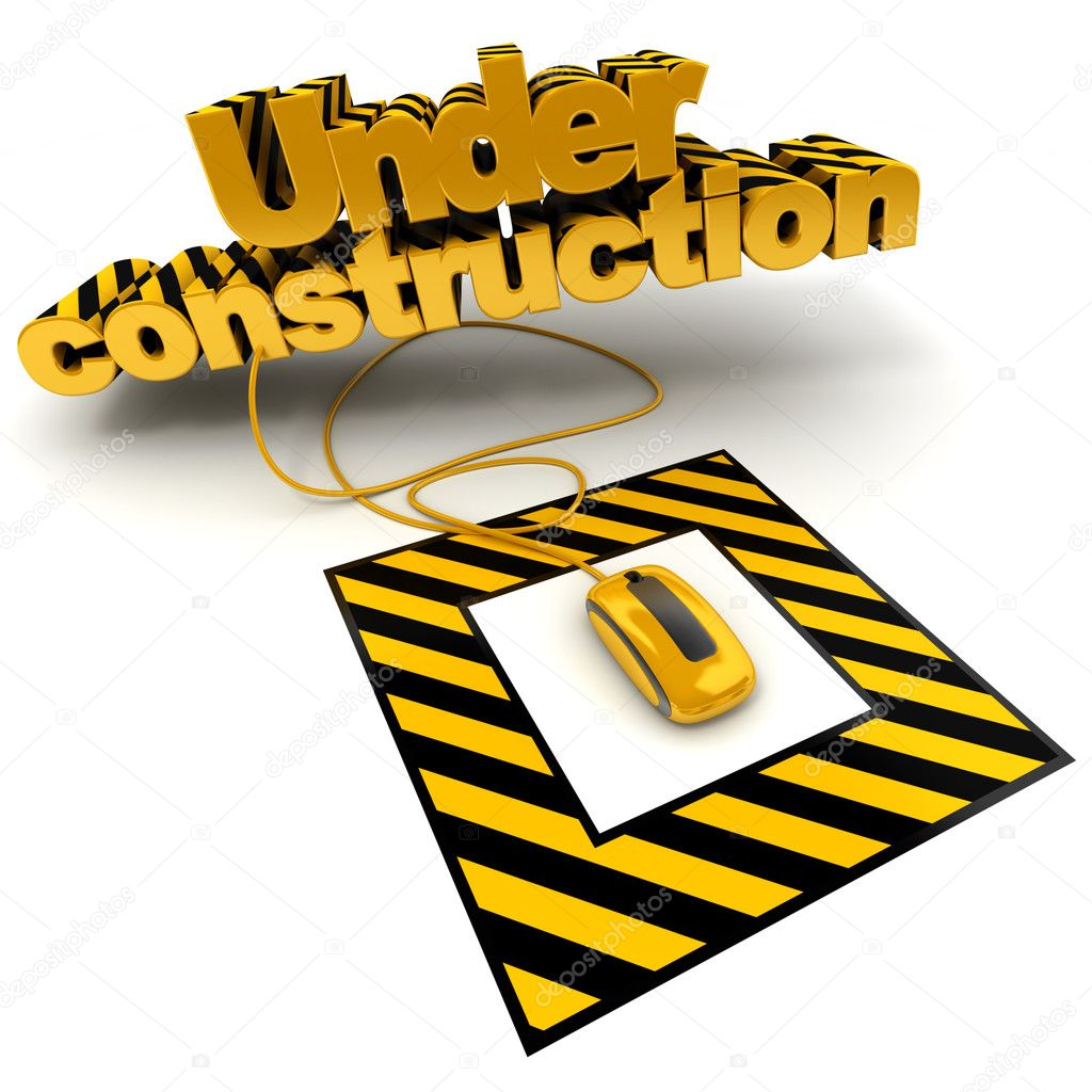 3D illustration of the word under construction connected to a computer mouse with black and yellow stripes — Stock Photo #2209429