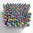 Aerosol cans arrangement — Stock Photo