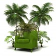 Green sofa in the tropics — Stock Photo