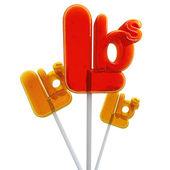 Trio of pound symbol lollipops — Stock Photo