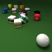Cubic billiards balls — Stockfoto
