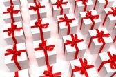 Background of white giftboxes — Stock Photo