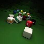 立方ボールと不可能なビリヤード — ストック写真