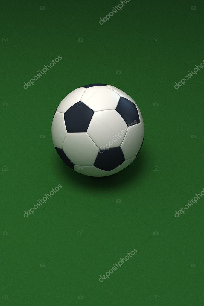 3D rendering of a soccer ball against a green background — Stock Photo #2210555