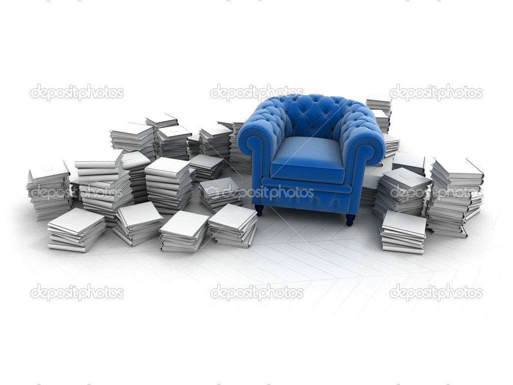 Blue velvet club armchair surrounded by white books  Stock Photo #2214288
