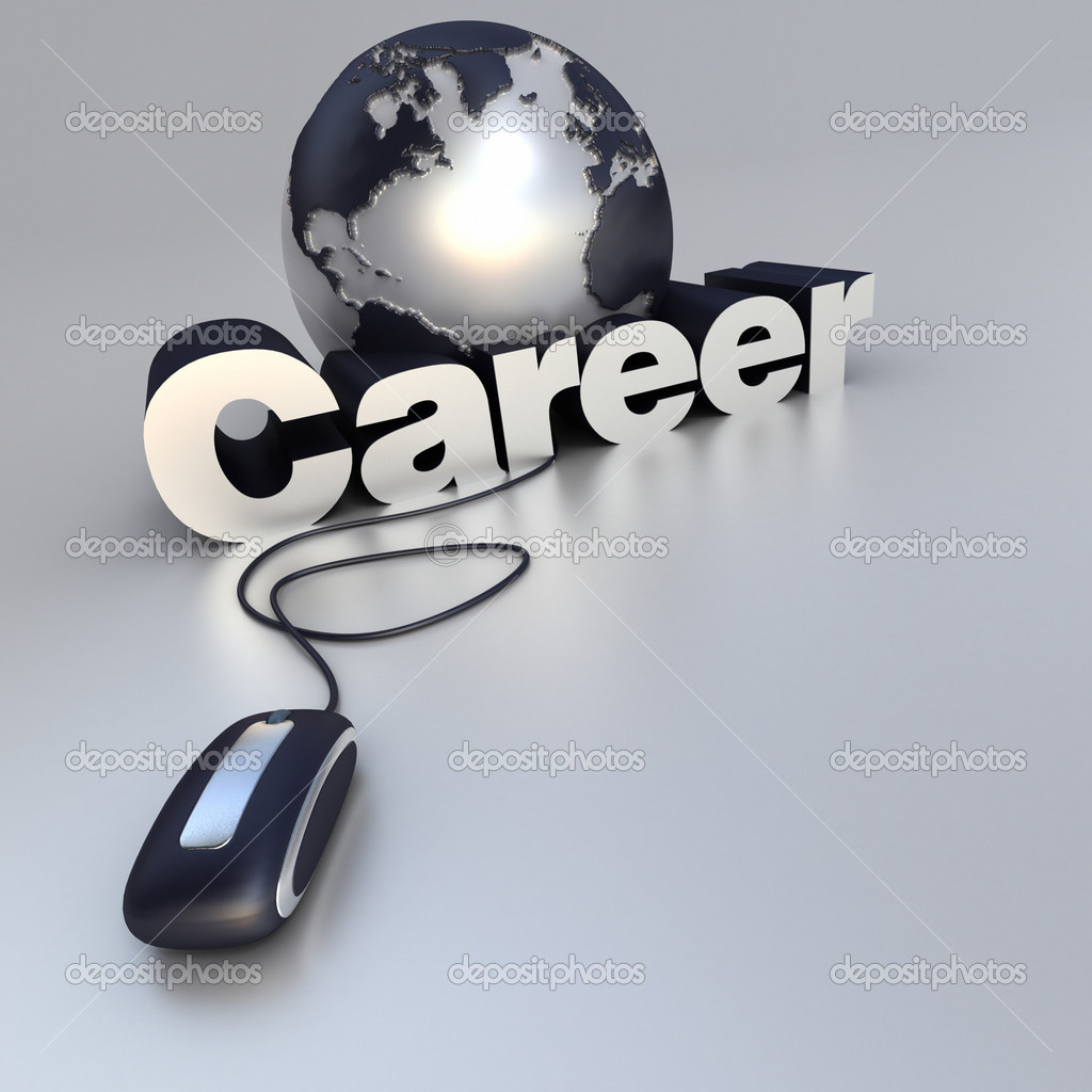 3D-rendering of a world globe, a computer mouse and the word career in blue and silver — Stock Photo #2214622