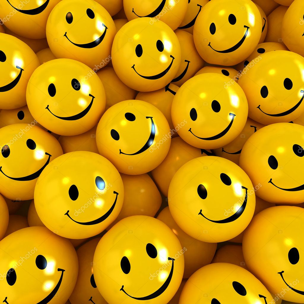 3D rendering of happy yellow faces  Stock Photo #2215406