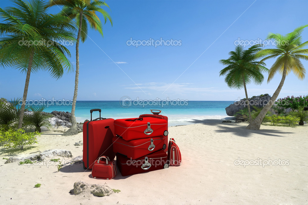 Pile of red luggage on a tropical beach  Stock Photo #2215539