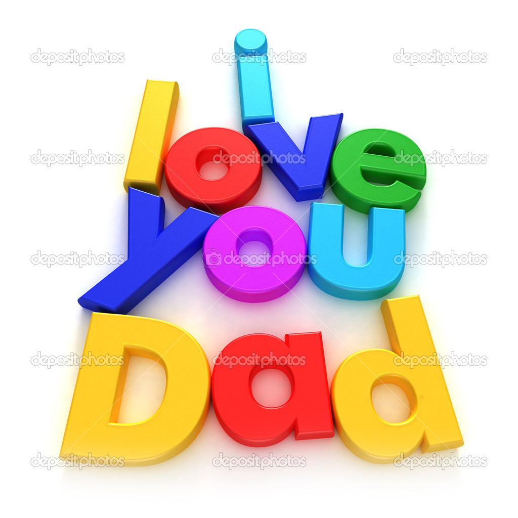 3D rendering of letter magnetes forming the sentence I love you dad  Stock Photo #2215717