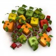 Cubic fruit composition — Stock Photo