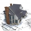 Stock Photo: Residential house architect blueprints