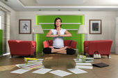 Woman levitation in the middle of a chaotic living room with documents spread on the floor. The images on the pictures on the wall are mine, so no copyright iss — Stock Photo