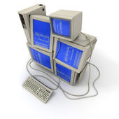 Stacked old computers — Stock Photo