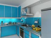 Turquoise kitchen — Stock Photo