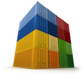 Wall of piled up cargo containers — Stock Photo