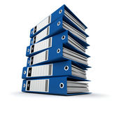 Blue ring binders on a pile — Stockfoto