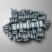 The word creativity in print letter cases — Stockfoto