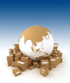 World Globe and packages — Stock Photo