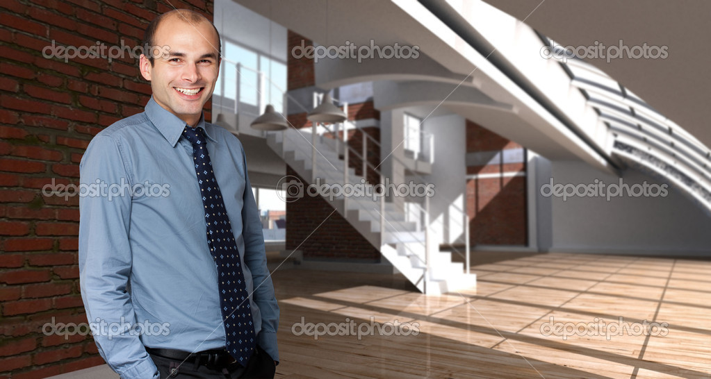 Shot of a happy man in a modern luxurios loft — Stock Photo #2292422