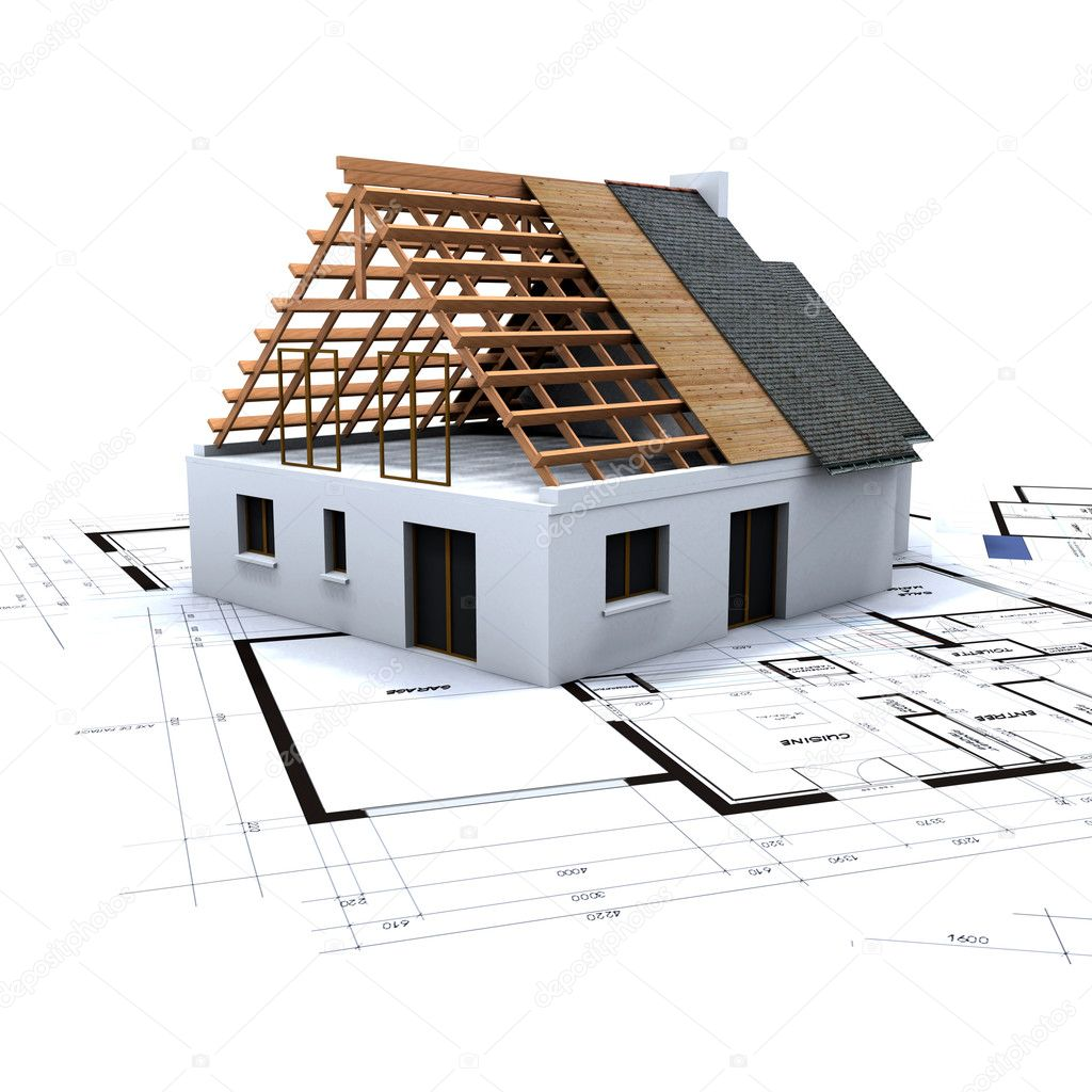 House in contruction process on top of architect's blueprints — Stock Photo #2293341