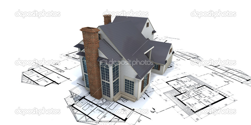 Residential house mock up on top of architect blueprints  Stock Photo #2293491