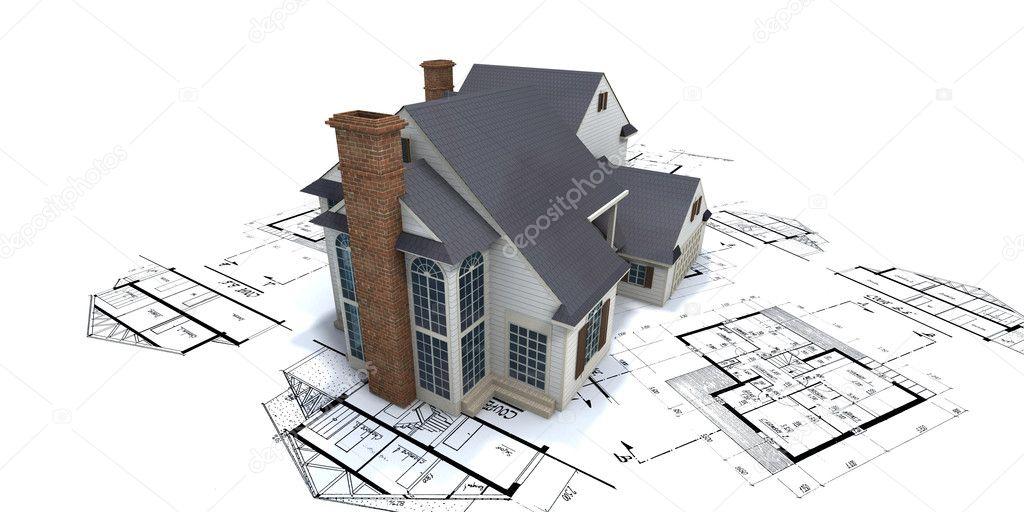 Residential house architect blueprints stock photo for Residential blueprints