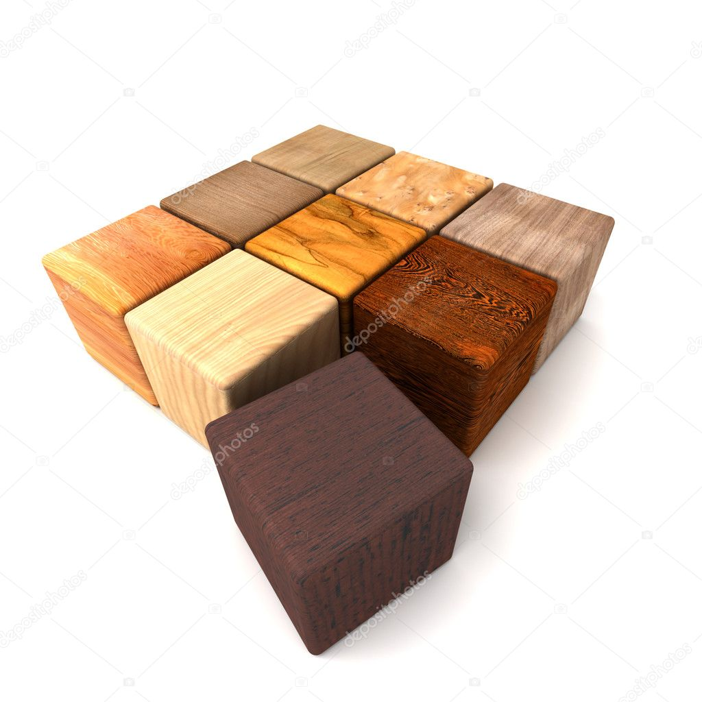 3D rendering of blocks in different woods — Stock Photo #2293634