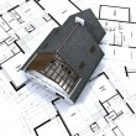 Detached house on architect blueprints — Stock Photo #2314882
